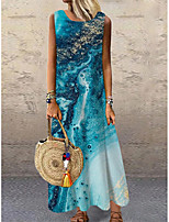 baratos -Mulheres Vestido de turno Vestido maxi longo Azul Azul Claro Sem Manga Estampado Cores Gradiente Estampado Primavera Verão Decote Redondo Casual 2021 S M L XL XXL 3XL