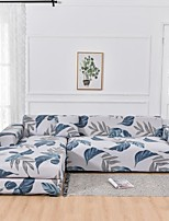 cheap -Light gray Leaves Print Dustproof All-powerful  Stretch L Shape Sofa Cover Super Soft Fabric with One Free Pillow Case