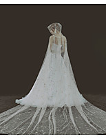 cheap -One-tier Lace Wedding Veil Cathedral Veils with Solid / Paillette 137.8 in (350cm) Lace / Tulle