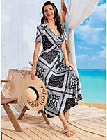 cheap -Women's Sundress Maxi long Dress Black Short Sleeve Striped Spring Summer Sexy 2021 L XL