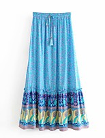 cheap -Women's Casual / Daily Theme Party Vintage Boho Skirts Floral Graphic Ruffle Print Blue Blushing Pink