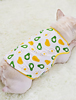 cheap -Dog Cat Shirt / T-Shirt Vest Avocado Fruit Basic Adorable Cute Casual / Daily Dog Clothes Puppy Clothes Dog Outfits Breathable Yellow Costume for Girl and Boy Dog Cotton S M L XL XXL