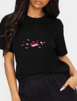 cheap -Women's T shirt Graphic Animal Print Round Neck Tops 100% Cotton Basic Basic Top Black