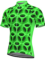 cheap -21Grams Men's Short Sleeve Cycling Jersey Spandex Green 3D Bike Top Mountain Bike MTB Road Bike Cycling Breathable Quick Dry Sports Clothing Apparel / Athleisure