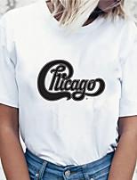 cheap -Women's Chicago T shirt Letter Print Round Neck Tops 100% Cotton Basic Basic Top White Black Red