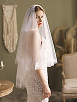 cheap -Two-tier Stylish / Cute Wedding Veil Fingertip Veils with Scattered Bead Floral Motif Style Lace / Tulle