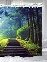 cheap -Forest Steps Digital Printing Shower Curtain Shower Curtains Hooks Modern Polyester New Design
