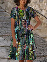 cheap -Women's T Shirt Dress Tee Dress Knee Length Dress Purple Short Sleeve Floral Print Print Spring Summer Round Neck Casual 2021 S M L XL XXL 3XL