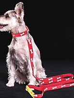 cheap -Dog Collar Leash Adjustable Flexible Safety Outdoor Hiking Walking Bone Footprint / Paw Polyester Husky Labrador Alaskan Malamute Golden Retriever Dalmatian Border Collie Black Blue 1 set
