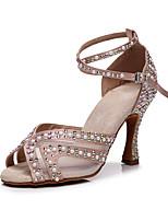 cheap -2021 Women's Latin Shoes High Heel Faux Pearl Crystal / Rhinestone Open Toe Black Khaki Buckle Glitter Crystal Sequined Jeweled / Satin