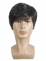 cheap -Short Mens Wigs Straight Synthetic Wig for Male Hair Fleeciness Realistic balck mix Pale grey Toupee Wigs