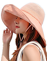 cheap -Women's Fisherman Hat Hiking Cap 1 PCS Outdoor Portable Sunscreen Soft Breathable Hat Solid Color Cotton Black Pink Grey for Fishing Climbing Beach