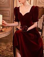 cheap -A-Line Elegant Vintage Homecoming Cocktail Party Dress Scoop Neck Half Sleeve Tea Length Velvet with Buttons 2021