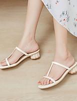 cheap -Women's Sandals Chunky Heel Open Toe PU Solid Colored Light Green Light Purple Beige