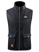 cheap -Men's Hiking Vest / Gilet Fishing Vest Sleeveless V Neck Vest / Gilet Jacket Top Outdoor Quick Dry Lightweight Breathable Sweat wicking Autumn / Fall Spring Summer Polyester Solid Color Black Army