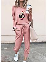 cheap -Women Basic Streetwear Animal Vacation Casual / Daily Two Piece Set Tracksuit T shirt Pant Loungewear Jogger Pants Drawstring Print Tops