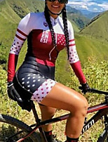 cheap -Women's Men's Long Sleeve Triathlon Tri Suit Summer White Patchwork Stars Bike Quick Dry Breathable Sports Patchwork Mountain Bike MTB Road Bike Cycling Clothing Apparel / Stretchy / Athletic