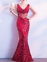 cheap -Mermaid / Trumpet Sparkle Sexy Wedding Guest Formal Evening Dress V Neck Sleeveless Floor Length Sequined with Sequin 2021
