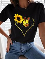 cheap -Women's T shirt Floral Butterfly Heart Print Round Neck Tops Basic Basic Top White Black
