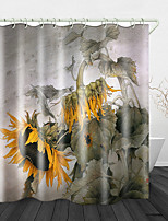 cheap -Sunflower Print Waterproof Fabric Shower Curtain for Bathroom Home Decor Covered Bathtub Curtains Liner Includes with Hooks