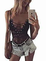 cheap -lady up sexy lingerie lace-up one piece baby doll naughty lace teddy romper bodysuit for women black