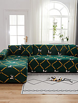 cheap -Color Green Print Dustproof All-powerful  Stretch L Shape Sofa Cover Super Soft Fabric Sofa Furniture Protector with One Free Boster Case