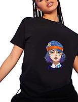 cheap -Women's T shirt Graphic Portrait Letter Round Neck Tops 100% Cotton Basic Basic Top Black