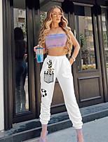 cheap -Women's Streetwear Punk & Gothic Comfort Going out Work Jogger Pants Plants Panda Ankle-Length Elastic Waist Print White Grey