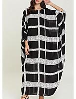 cheap -Women's Kaftan Dress Maxi long Dress Black Long Sleeve Striped Print Summer Round Neck Casual 2021 One-Size