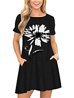 cheap -Women's T Shirt Dress Tee Dress Short Mini Dress Black Short Sleeve Floral Pocket Print Spring Summer Round Neck Casual 2021 S M L XL XXL 3XL