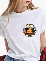 cheap -Women's California Los Angeles T shirt Graphic Scenery Letter Print Round Neck Tops 100% Cotton Basic Basic Top White Red Yellow