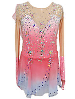 cheap -Figure Skating Dress Women's Girls' Ice Skating Dress Blue+Pink Patchwork Asymmetric Hem Spandex High Elasticity Competition Skating Wear Patchwork Crystal / Rhinestone Long Sleeve Ice Skating Figure