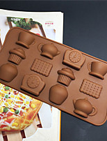 cheap -12 Holes Silicone Cake Molds Tea Cup Clock Teapot Mold DIY Making Ice Chocolate Decorating Mould DIY Kitchen Accessories