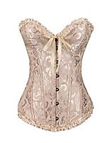 cheap -graswe women's vintage macrame dotted underbust corset waist training cincher plus size corsets apricot m