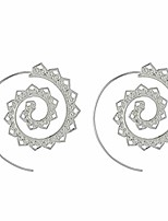 cheap -sevenfly spiral circles round dangle earrings drop jagged hoops swirl maze tribal dangling beaded charms jewelry,silver color