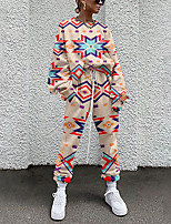 cheap -Women's Streetwear Cinched Geometric Going out Casual / Daily Two Piece Set Sweatshirt Tracksuit Pant Loungewear Jogger Pants Drawstring Print Tops
