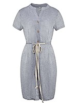 cheap -pearl angeli women casual dress v neck short sleeve solid summer t-shirt dress with drawstring(grey,m)