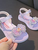 cheap -Girls' Sandals Comfort Flower Girl Shoes Princess Shoes PU Big Kids(7years +) Daily Home Walking Shoes Rhinestone Bowknot Purple Pink Spring Summer