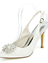 cheap -Women's Wedding Shoes Stiletto Heel Pointed Toe Satin Rhinestone Pearl Solid Colored White Black Champagne
