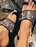 cheap -Women's Sandals Flat Heel Round Toe PU Rhinestone Solid Colored Black Gold