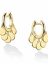 cheap -loyata tassel earrings gold dangle huggie hoop coin round wafer drop 14k gold filled dainty small simple hypoallergenic jewelry gift for women