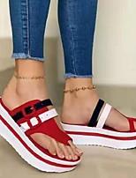 cheap -Women's Slippers & Flip-Flops Wedge Heel Open Toe PU Color Block Black Red