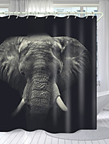 cheap -Tusk Elephant Digital Printing Shower Curtain Shower Curtains  Hooks Modern Polyester New Design