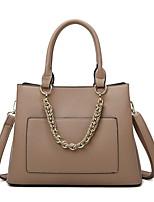 cheap -Women's Bags PU Leather Satchel Top Handle Bag Zipper Date Office & Career 2021 Handbags Wine Black Blue Blushing Pink