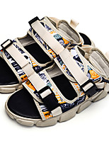 cheap -Men's Sandals Casual Beach Daily Water Shoes Walking Shoes PU Elastic Fabric Breathable Non-slipping Wear Proof Black Rainbow Beige Summer