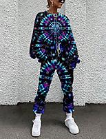 cheap -Women's Basic Streetwear Print Vacation Casual / Daily Two Piece Set Tracksuit T shirt Pant Loungewear Jogger Pants Drawstring Print Tops