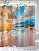 cheap -Flame Beach Digital Printing Shower Curtain Shower Curtains  Hooks Modern Polyester New Design
