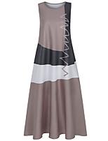 cheap -Women's Swing Dress Maxi long Dress White Red Khaki Gray Sleeveless Geometric Summer Casual 2021 S M L XL XXL 3XL 4XL 5XL