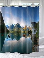 cheap -Mountain Lodge Digital Printing Shower Curtain Shower Curtains Hooks Modern Polyester New Design