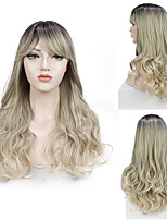 cheap -Long Ombre Light Ash Blonde Wavy Wig Cosplay Party Daily Synthetic Wig for Women High Density Temperature Fibre Free Cap